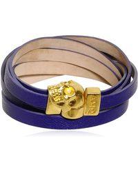 Alexander McQueen Skull Multi Rows Leather Bracelet purple - Lyst