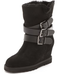 Ash Yes Buckle Wedge Boots - Topo - Black