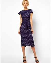 Asos Tulip Dress with Waterfall Skirt - Lyst