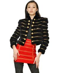 Balmain Gold Striped Rex Rabbit Jacket - Lyst