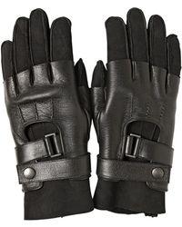 Balmain Suede Nappa Leather Biker Gloves - Black