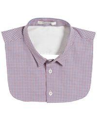 Carven Panama Checked Cotton Shirt Collar - Purple