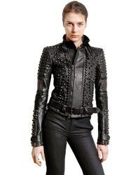 Diesel Black Gold Studded Nappa Leather Biker Jacket - Black