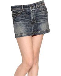 Diesel Black Gold - Stretch Cotton Denim Mini Skirt - Lyst