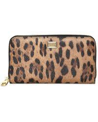 Dolce & Gabbana Leopard Printed Zip Around Wallet - Lyst