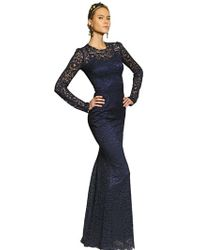Dolce & Gabbana Viscose Lace Long Dress - Lyst