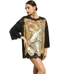 Dolce & Gabbana Printed Silk Satin Lace Top - Lyst