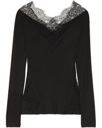 Donna Karan New York Lace trimmed Stretch jersey Top - Lyst