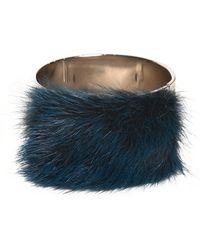 Fendi Mink Fur On Brass Metal Cuff - Lyst
