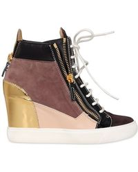 Giuseppe Zanotti 90mm Suede High Top Wedge Sneakers - Lyst