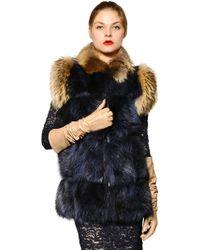 Jo No Fui Murmansky Patch Fur Vest - Blue
