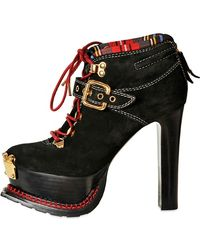 Moschino 120mm Leather Trekking Ankle Boots - Black