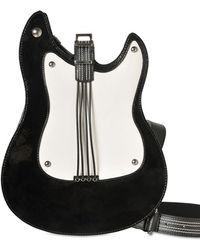Boutique Moschino Punk Roll Guitar Patent Shoulder Bag - Black