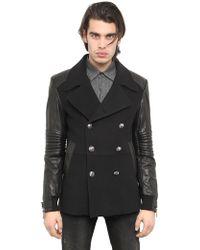 Philipp Plein Wool Cloth Leather Pea Coat - Black