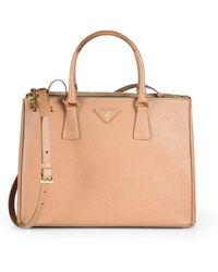 Prada Saffiano Medium Double Zip Top-Handle Bag - Lyst