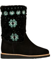 RED Valentino 30mm Suede Shearling Boots - Black