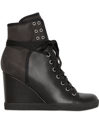 See By Chloé 90mm Calfskin Suede High Top Wedges - Black