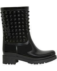 Valentino Rubber Studded Rain Boots - Black