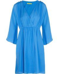 Alice Olivia Toni Stretch Silk Satin Wrap Effect Dress