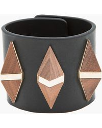 Givenchy - Black Leather Wooden Pyramid Cuff - Lyst