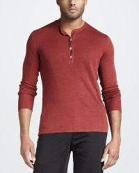 John Varvatos | Linen Henley Sweater Red | Lyst