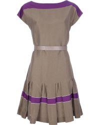 Max Mara Studio Purple Flared Dress - Lyst