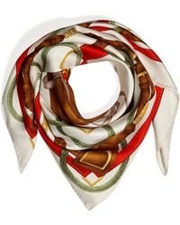 Ralph Lauren Collection - Silk Twill Saddle Print Scarf in Ivoryred - Lyst