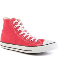 Converse All Star Redcanvas Hightops Red - Lyst