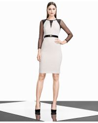 Karen Millen Graphic Lace Insert Dress - Lyst