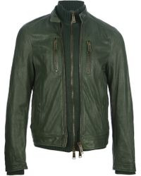 DSquared² Layered Leather Jacket - Lyst
