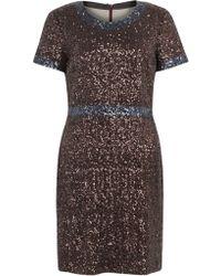 Jigsaw Jigsaw Sequins Shift Dress Bronze - Brown