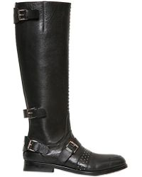 John Richmond Hammered Studded Tall Biker Boots - Black