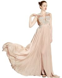 Maria Lucia Hohan Chain Embroidered Silk Tulle Long Dress - Lyst