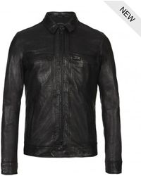 AllSaints Track Leather Jacket - Lyst