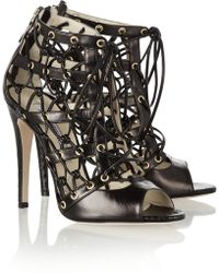 Brian Atwood Leather and Elaphe Cutout Ankle Boots black - Lyst