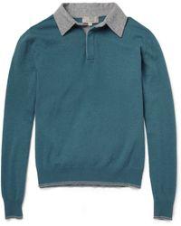Canali Longsleeved Wool Polo Shirt - Blue