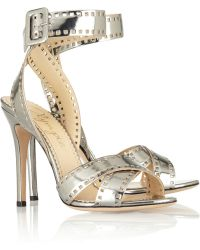 Charlotte Olympia Take 110 Metallic-Leather Sandals - Lyst