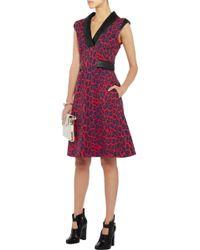Christopher Kane Leather trimmed Leopard print Stretch-crepe Dress - Lyst