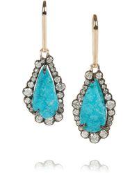 Kimberly Mcdonald - 18karat Rose Gold Diamond and Chrysocolla Druze Earrings - Lyst