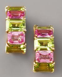 Paolo Costagli - Peridot & Pink Sapphire Huggie Earrings - Lyst