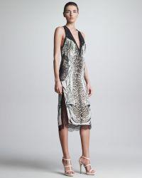 Roberto Cavalli Mixedprint Slit Lacetrim Dress - Lyst