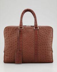 Santiago Gonzalez Ostrich Crocodile Briefcase Tobacco - Brown