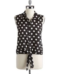 Vince Camuto Sleeveless Polka Dot Blouse - Lyst