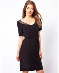 Ganni Silk Dress with Lace Panel and Tie Waist - Lyst