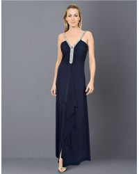 Js Boutique Bead Embellished Matte Jersey Gown - Lyst