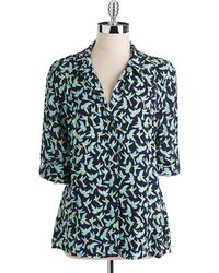 Two By Vince Camuto Humming bird Print Button down Blouse - Blue