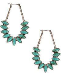 Lucky Brand -  Faux Turquoise Oblong Hoop Earrings - Lyst