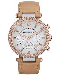 Michael Kors Ladies Parker Twotone Leather Chronograph Watch - Lyst