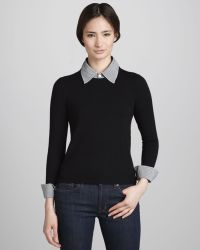 Alice + Olivia Womens Alice Olivia Wiley Sweater with Removable Collar Cuffs - Lyst