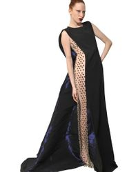 Antonio Berardi Embroidered Tulle and Cady Long Dress - Lyst